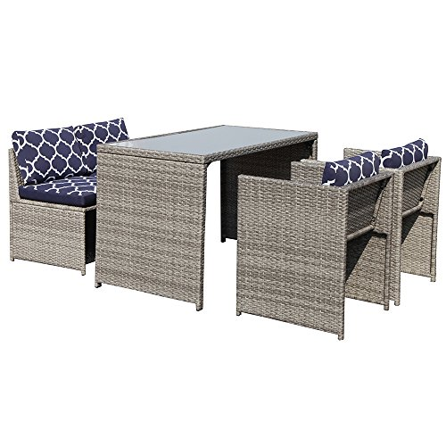 OC Orange-Casual 5 Piece Rattan Wicker Furniture Set Outdoor Dining Set Cushioned Patio Sectional Conversation Bistro Set, Space Saving - Grey (Room Sustainable Living Furniture)