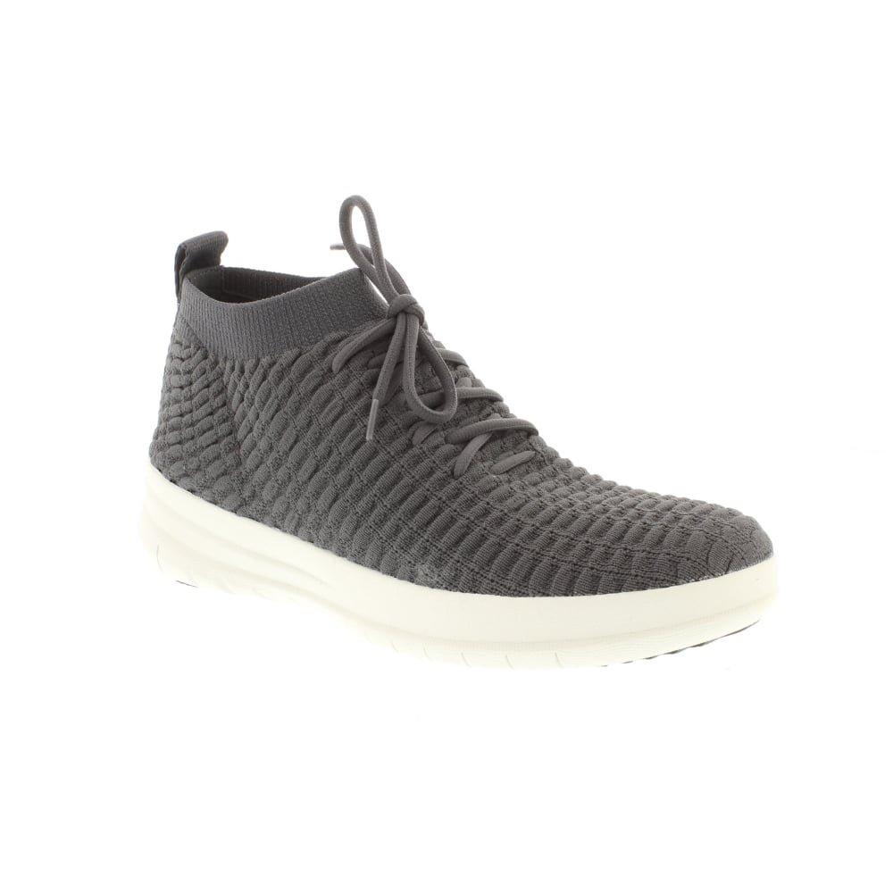 Fitflop Uberknit Slip-On High Top Snea - Botín de mujer, color negro 5 UK|Charcoal
