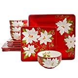 Laurie Gates Pleasant Poinsettia 12 Piece Dinnerware Set, Red (Christmas Dishes) For Sale