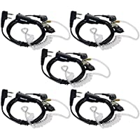 Retevis 2 Pin Acoustic Tube Headset Earpiece for Kenwood 2 Way Radios HYT Baofeng BF-UV5R 888S Retevis H-777 RT7 RT-5R Walkie Talkies (5 Pack)