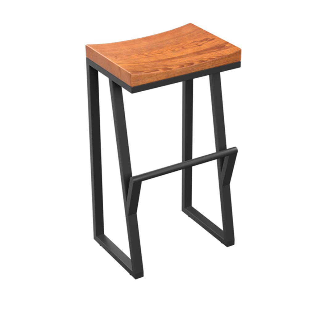 70CM Vintage Solid Wood High Stool Bar Stool Kitchen Breakfast Chair Counter Stool Wrought Iron Legs + Square Curved Seat Design (Size   85cm)