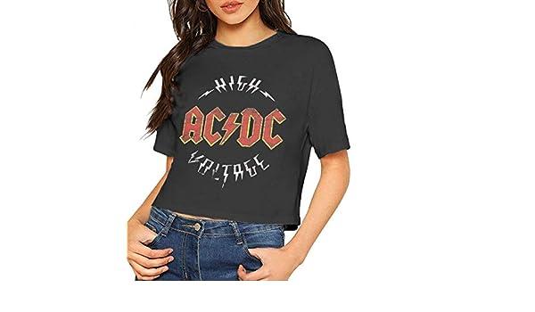 BAOQIN ACDC Camisa Crop Top Summer Dew Navel Camiseta Mujer s: Amazon.es: Ropa y accesorios