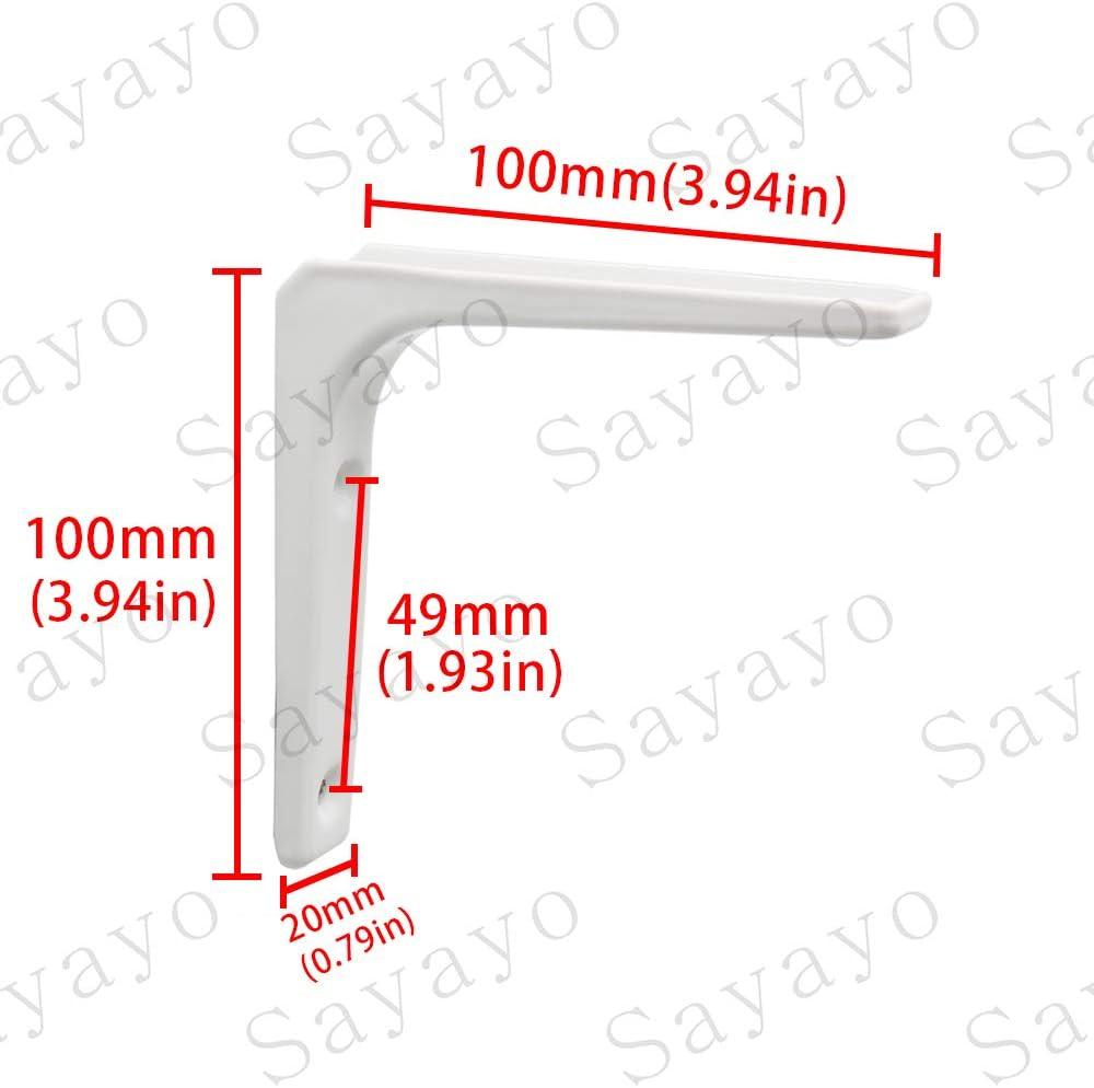 Soporte de esquina para estante de pared 100 mm x 100 mm, acabado de metal blanco brillante, 4 unidades, EJR100W-4P Sayayo EJR100W-4P