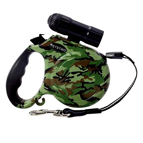 Quno Retractable Dog Leash Lead with LED Light 16.5 Feet Long for Dogs Cats Camouflage by Quno