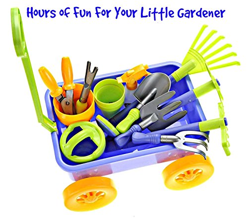 Garden Wagon & Tools Toy Set by Dimple: Premium 15-Piece Gardening Tools & Wagon Toy Set – Sturdy & Durable - Top Yard, Beach, Sand, Garden Toy - Great Christmas Gift for Kids & Toddlers (Wagon Set)