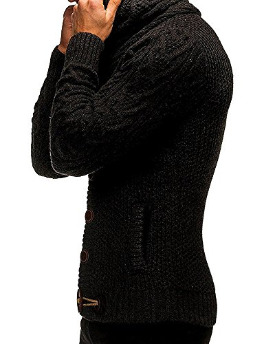 Bbalizko Mens Cashmere Turtleneck Cable Knit Cardigan Sweater Jacket