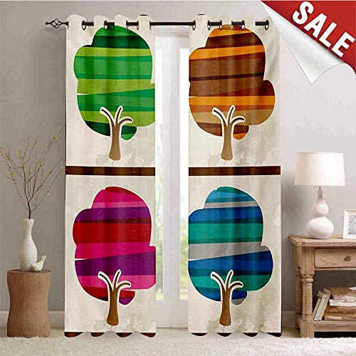 Hengshu Modern Blackout Draperies for Bedroom Striped Tree Silhouettes in Spring Fall Winter Summer Seasons Artwork Collection Thermal Insulating Blackout Curtain W72 x L96 Inch Multicolor