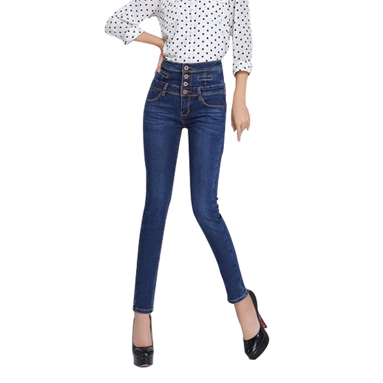 Womens Jeans Autumn Winter Female Denim High Waist Single Breasted Pencil Pants