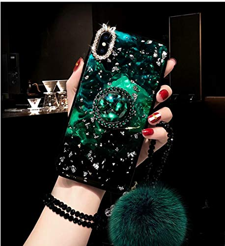 iPhone 6 Plus Marble Case,iPhone 6s Plus Marble Case,Aurora Green Gold Foil Shell Conch Cover Silicon Frame Diamond Kickstand Phone Case for iPhone 6 Plus/6S Plus 5.5-inch with Fox Hairball/Lanyard