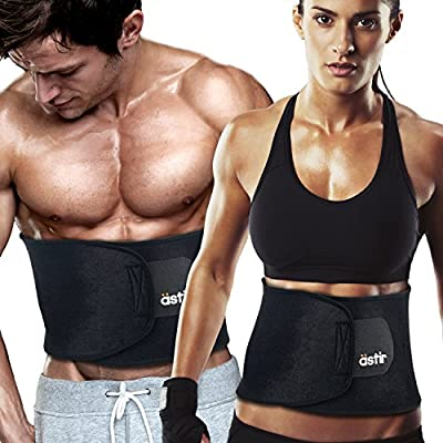 """Astir Waist Trimmer Ab Belt For Women & Men•Extra Long (44""""), Extra Wide (9""""), & Extra Flexible Sweat Belt with Maximum Abdominal Coverage•Non-Slip Surface for Max Waist Slimming•Lifetime Guarantee"""