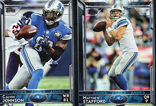 Detroit Lions 2015 Topps NFL Football Complete Hand Collated Regular Issue 13 Card Team Set Including Matthew Stafford, Golden Tate, Calvin Johnson and Others