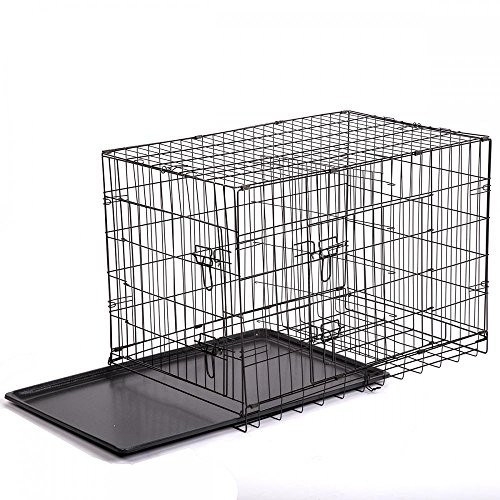 42-2-Doors-Pet-Folding-Suitcase-Dog-wDivider-Cat-Crate-Cage-Kennel-wTray-LC