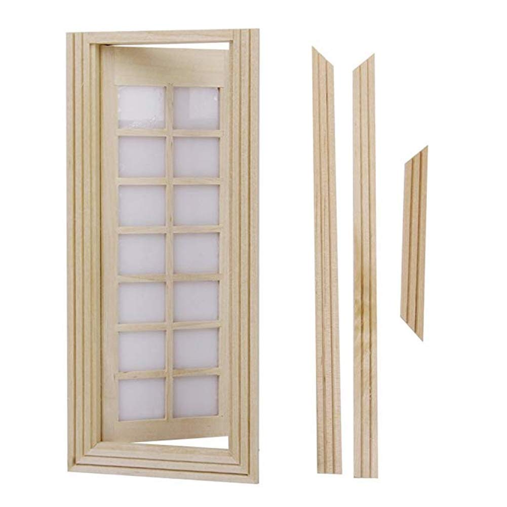 YaptheS ミニチュア 木製ドア 1セット 6段 シングルドア ウィンドウ 1/12 ドールハウス DIY 装飾 アクセサリー パーティーギフト   B07JR22RPD