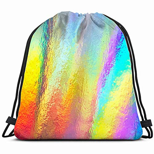 (Colorful Holographic Modern Foil Futuristic Abstract Drawstring Backpack Sports Gym Bag For Women Men Children Large Size With Zipper And Water Bottle Mesh Pockets)