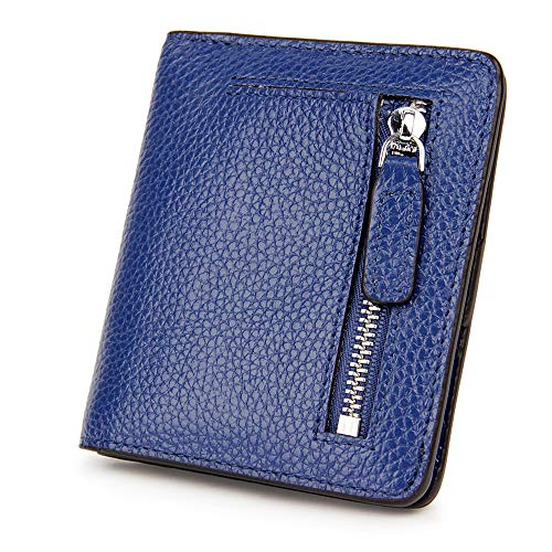 S-ZONE Women's Genuine Leather RFID Blocking Bifold Pocket Small Wallet Coin Holder (Blue)