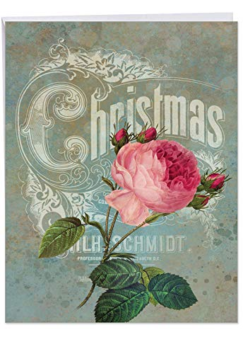 (Christmas Roses - XL Christmas Greeting Card with Envelope (8.5 x 11 Inch) - Beautiful Red Rose Flowers, Happy Holidays and Seasons Greetings Cards for Friends and Family J5156BXSG)