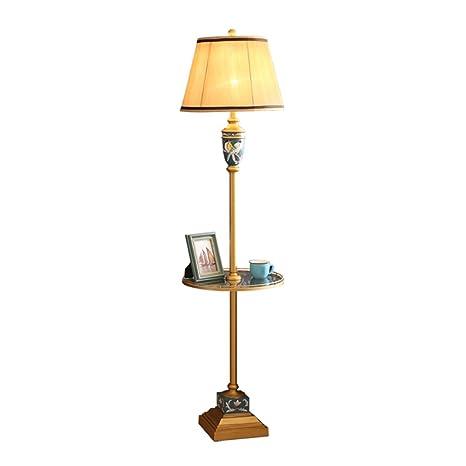 YYLLUODID ZHDC® Lámpara de pie Americana, Sala de Estar Mesa ...