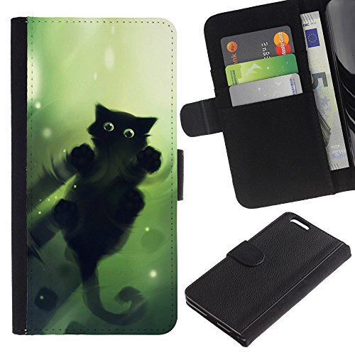 Funny Phone Case // Cuir Portefeuille Housse de protection Étui Leather Wallet Protective Case pour Apple Iphone 6 PLUS 5.5 /Vert Cat/