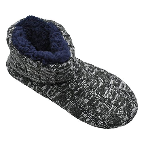 Pull Q with Plus Soft Cable Sole Foam Boots Cozy Memory Gray Slipper Warm Knit on Indoor Wool Rock Rubber Men Knit 6d6wxq0rp