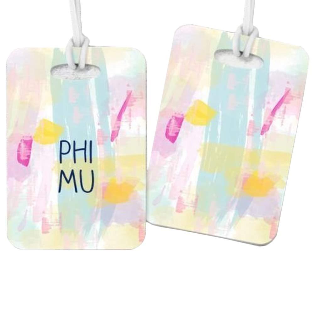 Phi Mu Watercolor Luggage Tag