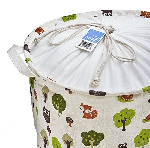 Org Store Cotton Fabric Collapsible Laundry Basket Dirty Clothes Hamper - Perfect for College Dorms, Kids Room & Bathroom (Forest Patterned) by Org Store (Image #1)