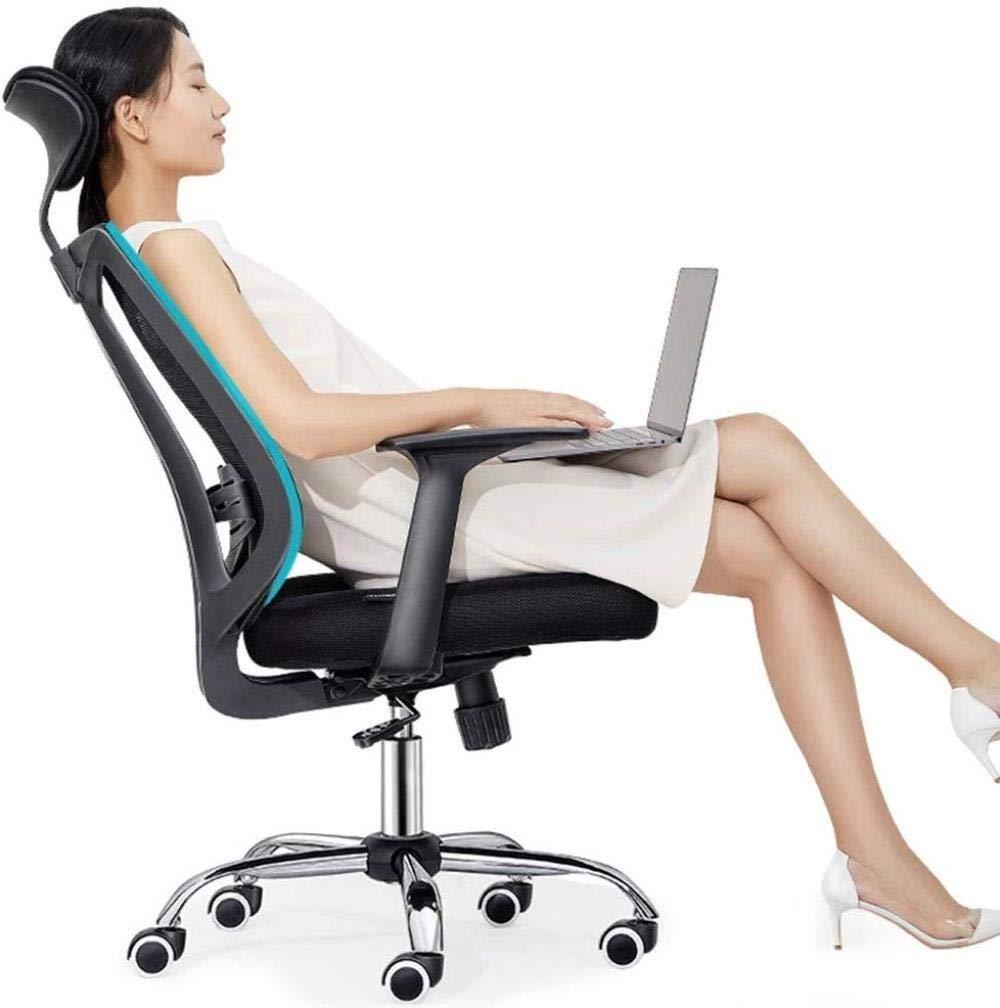 Barstolar THBEIBEI mesh dator kontorsstol justerbar sittkudde och nackstöd vadderad skrivbordsstol med torsionskontroll bärande vikt 120 kg (färg: svart) Grått