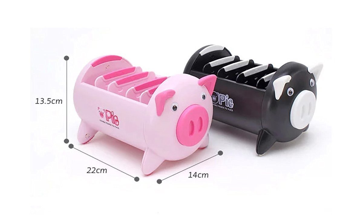 Pacii Creative Pigs Plastic Office Desktop Stationery Pencil Holder Makeup Pen holder Cell Phone Remote Control Storage Box Organizer As Christmas Birthday Gift Home Tool (Pink)
