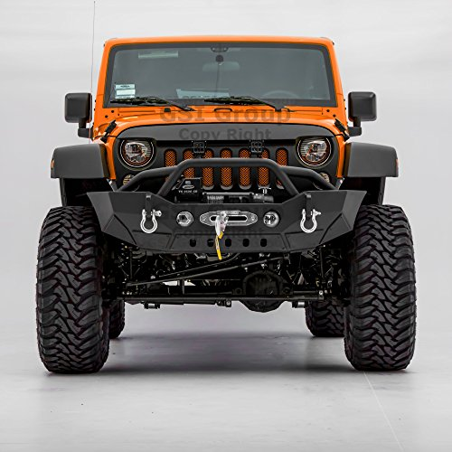 Brand Name: GSI Stubby Front Bumper with Double Wrap Plate, OE Fog Light Hole and Winch Mount Plate for 07-17 Jeep Wrangler JK