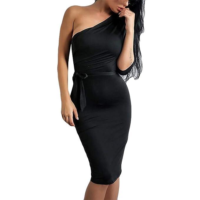 Bluestermall Vestito Donna Slim Fit Tinta Unita Abiti Monospalla   Amazon.it  Abbigliamento 2262897eadb