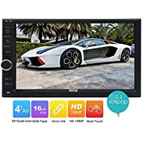 Eincar 16GB R0M Android 5.1 Lollipop HD Quad Core Double Din In Dash Car Radio Stereo Bluetooth GPS Navigation Car Player Support USB/SD OBD2 Mirror Link Steering Wheel Control 3G/4G Function Aux