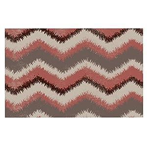 "high-quality KESS InHouse HJ1075ADM02 Heidi Jennings ""Fuzzy Chevron"" Red Brown Dog Place Mat, 24"" x 15"""
