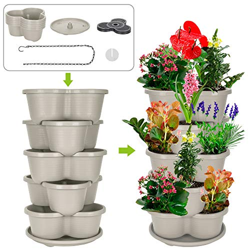 Amazing Creation Stackable Planter Vertical Garden for Growing Strawberries, Herbs, Flowers, Vegetables and Succulents Indoor Outdoor 5 Tier Gardening Tower Hanging Planter Off-White
