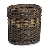 The Basket Lady Drop-in Oval Wicker Waste Basket with Removable Metal Liner | Antique Walnut Brown | 12'' L x 9.5'' W x 12'' H
