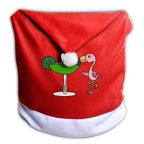 Chair Margarita - G7M42B&78 Christmas Chair Back Cover, Flamingo Drinking Margarita Santa Red Hat Slip Covers Christmas Holiday Dining
