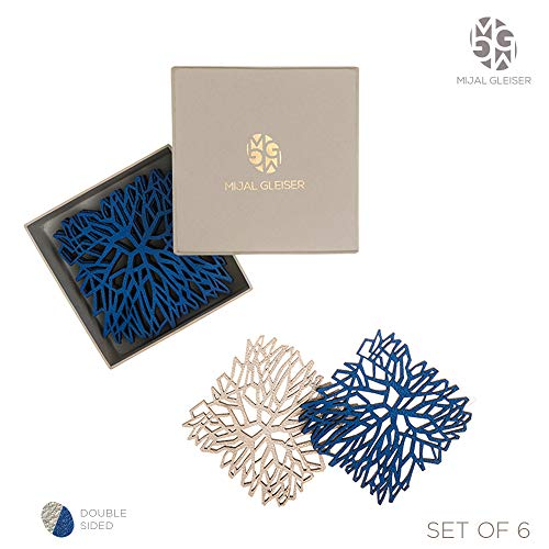 - Mijal Gleiser Double Sided Coasters Laser Cut Heat Resistant Non Slip Stain Resistant Set of 6 (Synapse Collection Royal Blue-Champagne)