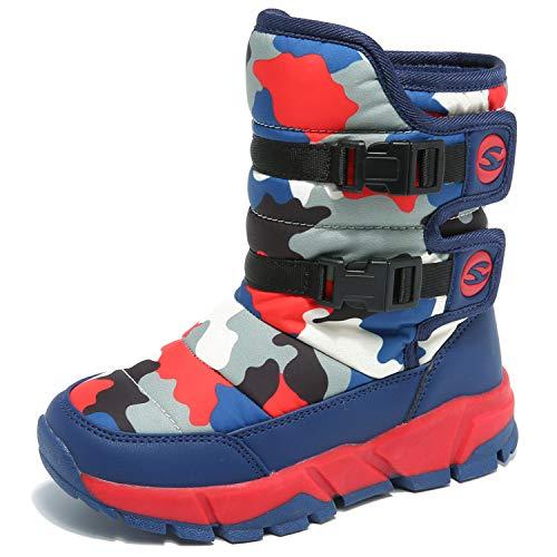 JACKSHIBO Kid Winter Snow Boots Outdoor Warm Boots Slip On Button Shoes for Boys Girls (Toddler/Little Kid/Big Kid) US 10-4.5 DarkRed 28