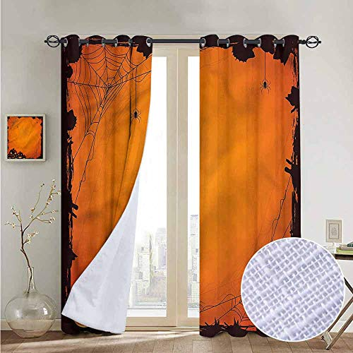 NUOMANAN Curtains for Bedroom Halloween,Halloween Pumpkin Scary Curtain Panels for Bedroom & Kitchen,1 Pair 54