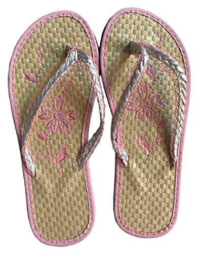 Raun Fashions Trendy and Stylish Women's/Teen's Bamboo Flip Flops with Palm Tree or Floral Design in a Variety of Colors. (Womens 8, Pink Trim with Floral Design) - Bamboo Flip Flop Sandals