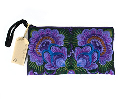 Lanna Lanna Hmong Wristlet - Hill Tribe Boho Clutch Purse / Zipped Embroidered Hmong Bag Wristlet with Bright Flower Designs and Zipped Inside Pocket (Purple Flowers)