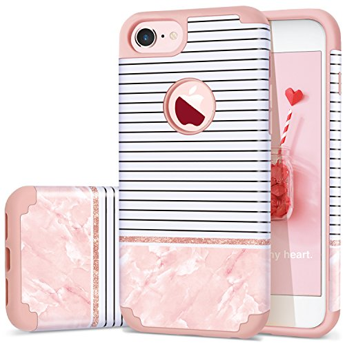 iPhone 7 Case,iPhone 8 Case Stripes,Fingic Thin Slim 2 in 1 Hybrid Case Stripes Pink Marble Colorful Pattern Design Hard PC&Soft Silicone Protective Case for iPhone 8/7 4.7,Stripes/Rose Gold