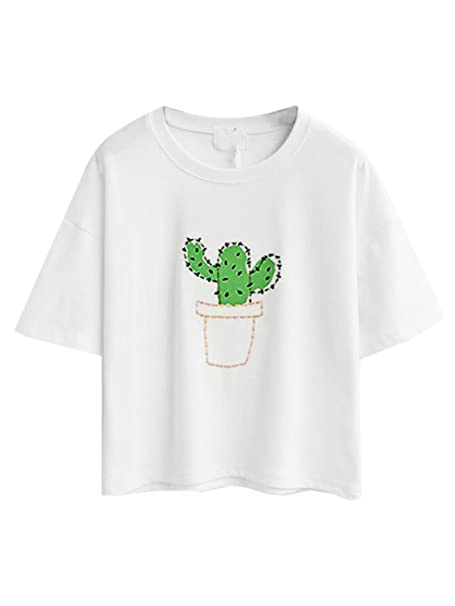 cd69a766b20 PERSUN Womens Summer Cute White Cactus Embroidery Basic Short Sleeve T-Shirt