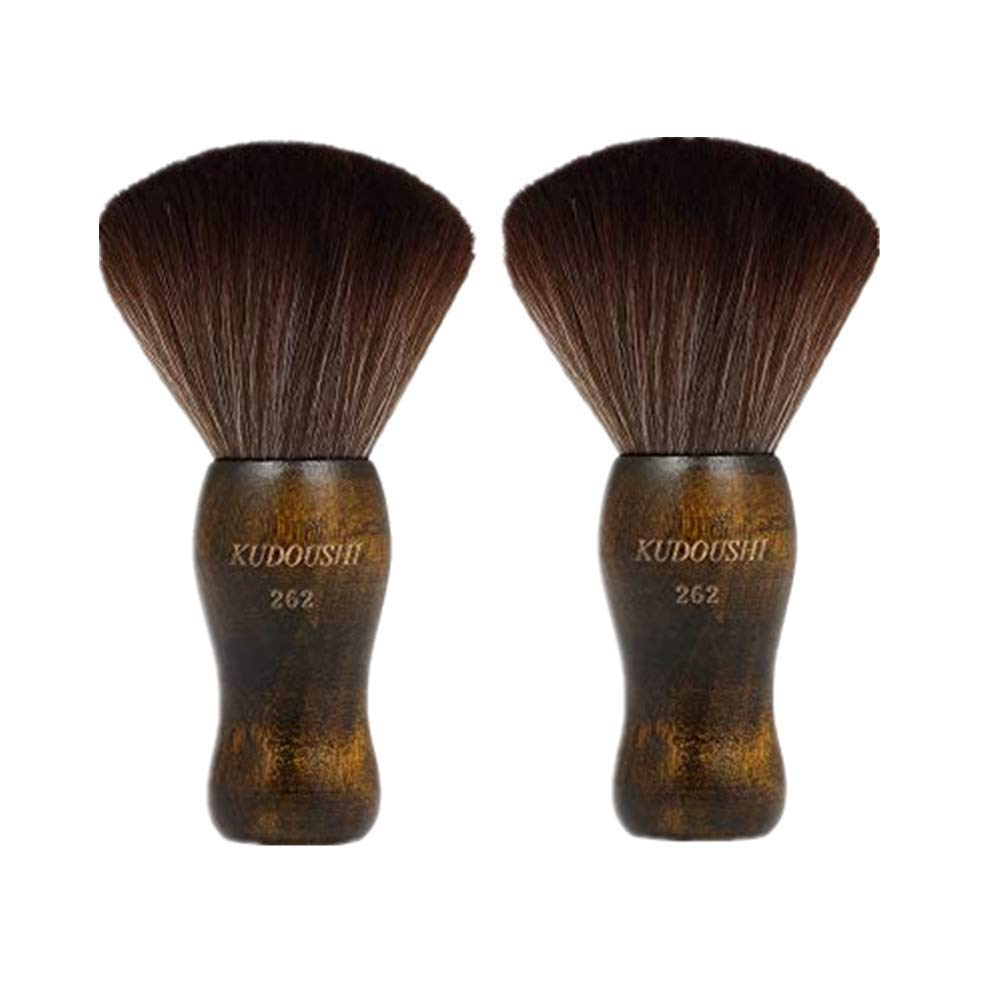 Anself 2pcs Neck Duster Brush, Natural Fiber Wooden Handle Cutting Kits Salon Hair Removal Brush Broken Hairbrush