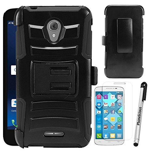 For ALCATEL RAVEN A574BL Case, Phonelicious Xtreme Armor [Heavy Duty] Hybrid Dual Layer Kickstand Belt [Holster Clip] Combo Rugged Tuff Free Screen Protector & Stylus (BLACK XC)