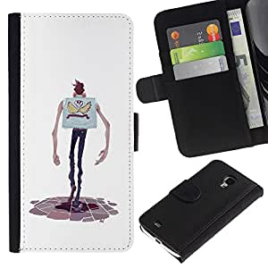 Be-Star la tarjeta de Crédito Slots PU Funda de cuero Monedero caso cubierta de piel Para Samsung Galaxy S4 Mini i9190 (NOT S4) ( Cartoon Character Hands Skinny Man Skull )