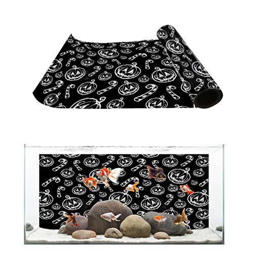T&H Home Aquarium Décor Backgrounds - Halloween Sketch Funny Pumpkin Grimace Black and White Fish Tank Background Aquarium Sticker Wallpaper Decoration Picture PVC Adhesive Poster, 36.4