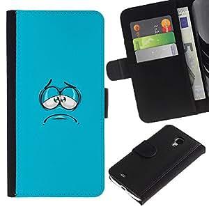 KingStore / Leather Etui en cuir / Samsung Galaxy S4 Mini i9190 / Cara azul de la historieta de la aguamarina minimalista