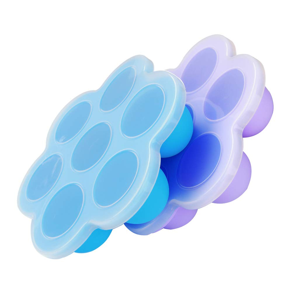 Bonfook 2 Packs Silicone Egg Bites Molds For Instant Pot Accessories, FDA Approved BPA Free Silicone Freezer Molds Ice Cube Trays, 7Cups Baby Food Storage Container With Lids (Blue+Purple)