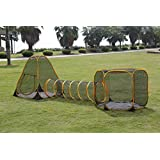 WJC Shop Outdoor Feline Funhouse Set Teepee and Hexagon, Plus a Tunnel/Dog Play pens for The House/Dog Kennel/Pet Tent/Outdoor Tent/Cat Tent/Dog Tent/Pet Funhouse