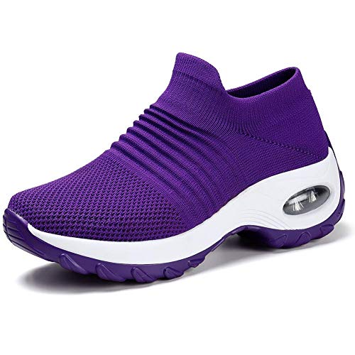 HKR Womens Walking Shoes Lightweight Platform Slip On Sneakers Comfortable Knit Mesh Working Shopping Shoes All Purple 7(ZJW1839chunzise38)