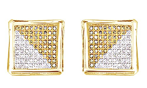 Round Cut White Real Diamond 14K Solid Yellow Gold Hip Hop Cluster Stud Earrings (1.08 Cttw) by wishrocks